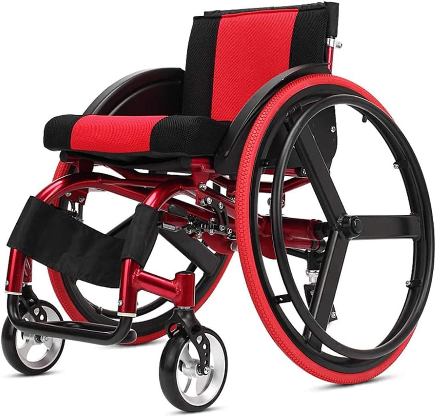 Caiyuankai Ancianos Silla de ruedas Deporte Adulto Manual Autopropulsado Ligero Plegable Aluminio Amortiguación avanzada Golpe Incómodo Ser aplicable Niños Parálisis cerebral Súper ligero