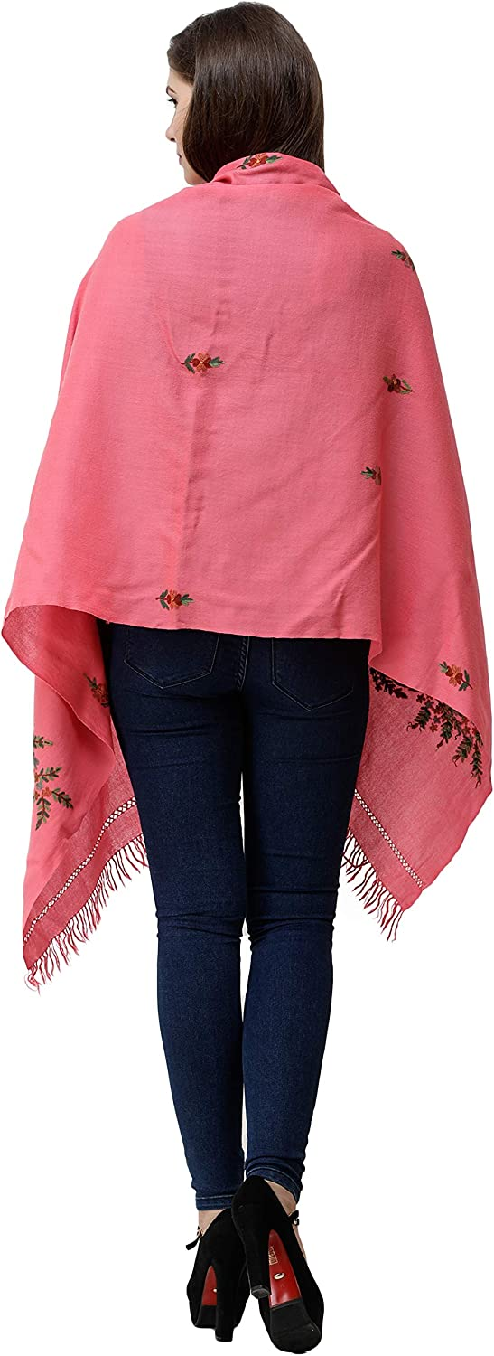 Exotic India Hot-Pink Stole from Kashmir with Hand-Embroidered Floral Vine