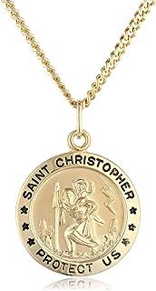 """گردنبند آویز مقدس کریستوفر آویز با رنگ طلای 14k با زنجیره استیل ضد زنگ ، 20 """""""