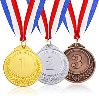 Caydo 3 Pieces Gold Silver Bronze Award Medalswith Ribbon