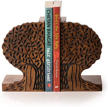 ExclusiveLane Tree Of Life Book End In Sheesham Wood -Bookends for Shelves Decorative Holder Book Ends for Office Childrens R