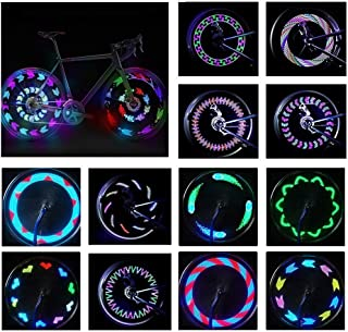 BYPA Bicycle Wheel Lights, Bike Wheel Lights LED Waterproof Spoke Tire Lights Bicycle Color Led Lights for Kids Adults-14LED 30Patterns,Visible from All Angles,Automatic & Manual Dual Switch