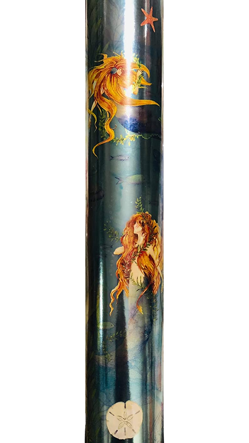 Punch Studio Continuous Metallic Gift Wrap Wrapping Paper Roll ~ Mermaids 65648