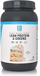 LIV Body | Plant-Based Vegan Lean Protein + Greens | Digestive Enzymes + Probiotics (Vanilla Birthday Cake)