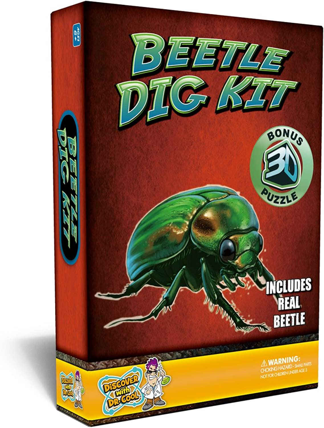 Discover with Dr. Cool Beetle Digging Kit, Includes Real Beetle in Acrylic