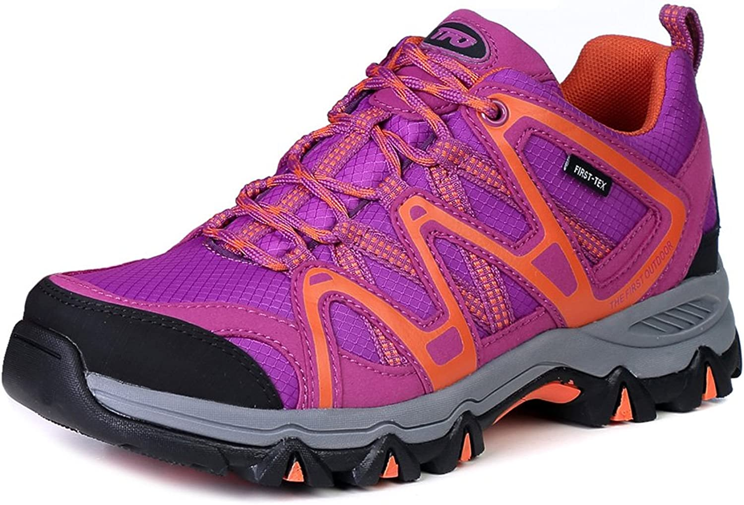TFO Women's First-Tex Water-Resistant Breathable Lightweight Hiking Running shoes Outdoor Trekking Sneakers (Size 5.5,Purple orange)