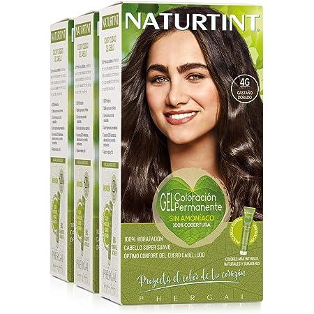 Naturtint Coloración. Tinte sin Amoniaco.100% Cobertura de Canas. Ingredientes Vegetales. Color Natural. 4G Castaño Dorado. Pack de 3