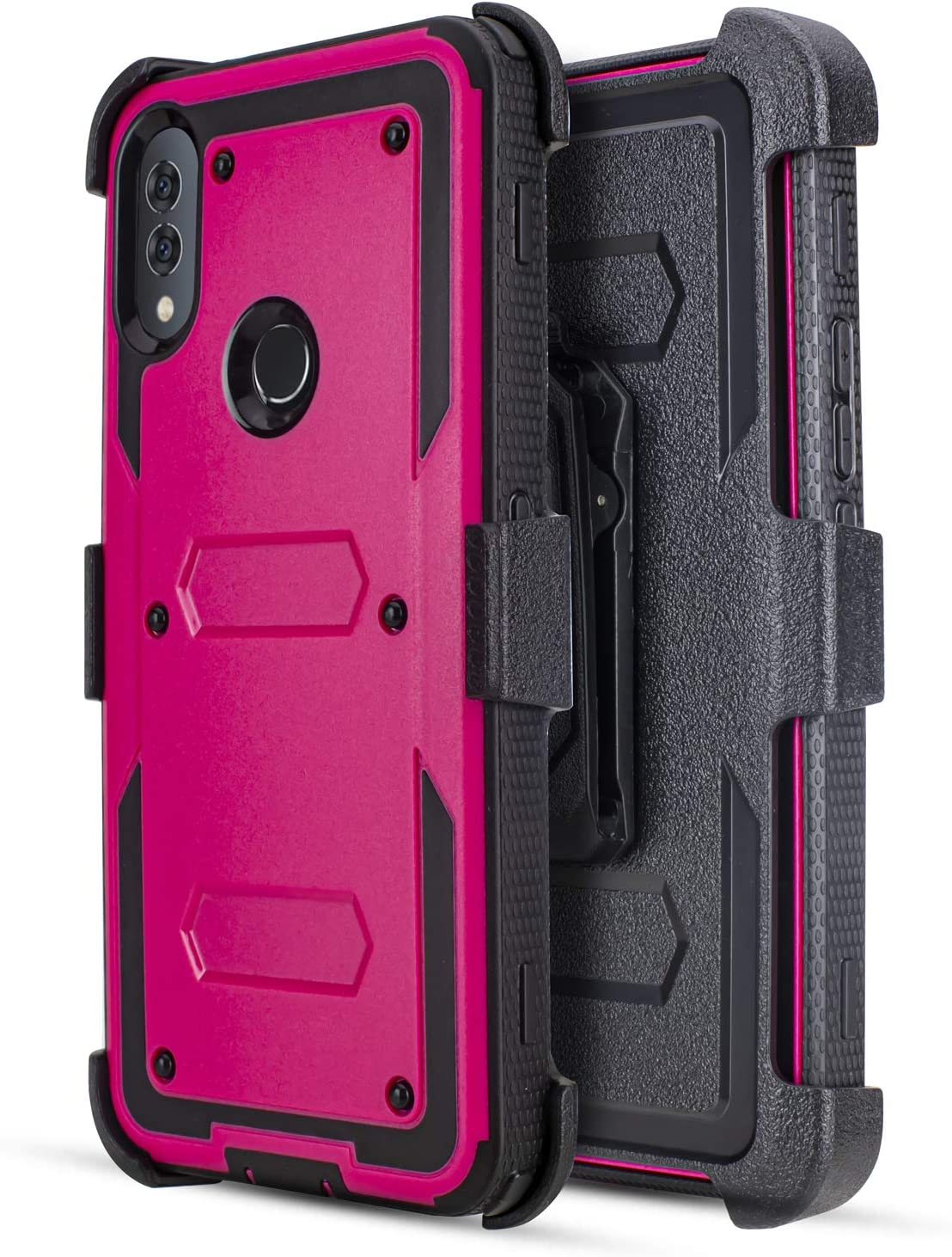 Customerfirst Case for Alcatel 3V 2019/5032W (Will Not Fit Alcatel 3V 2018), Built-in [Screen Protector] Heavy Duty Holster Cover [Belt Clip][Kickstand] (Pink)