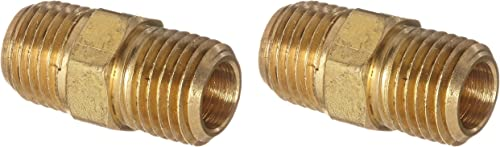 """2021 Anderson Metals 56122 sale Brass Pipe Fitting, Hex Nipple, 1/4"""" lowest x 1/4"""" NPT Male Pipe (Two Pack, Brass) outlet sale"""