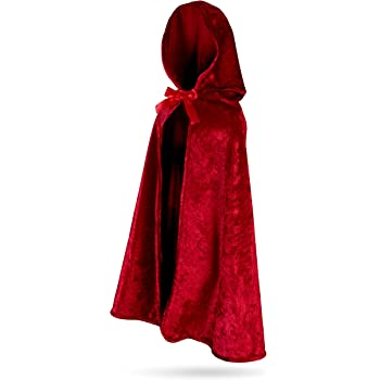 Red Velvet Hooded Kids Cape Halloween Fancy Dress Fairytale Riding Child Costume