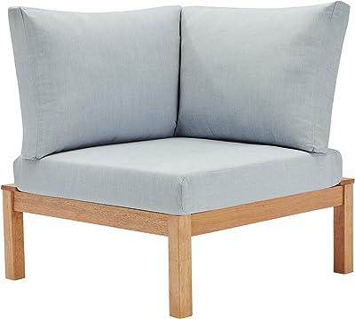 Modway EEI-3694-NAT-LBU Freeport Corner Chair, Natural Light Blue
