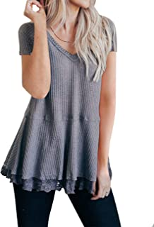 MEROKEETY Women's Long Sleeve V Neck Waffle Knit Lace Trim Flowy Tunic Tops Blouse