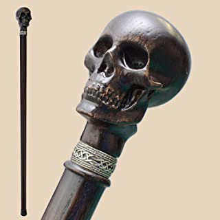 Fancy Carved Walking Cane for Men and Women - Skull Head - Stylish Wooden Canes and Walking Sticks Fashionable