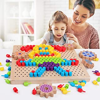QZM Wooden Peg Board Puzzle Mosaic Pegboard Game with 250pcs Colorful Mushroom Nails Puzzles 3D Pixel Color Brain Board Game for Kids Toddlers Boys Girls
