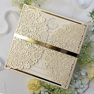 CAMPIONE partecipazione matrimonio fai da te elegante SET anniversario battesimo compleanno DIY avorio perlato oro taglio ...