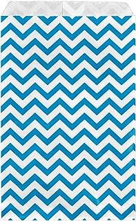 200 pcs Blue Chevron Paper Gift Bags Shopping Sales Tote Bags 6