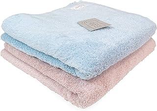 綿雪のようなタオル バスタオル 60×120cm 2枚組 (ライトブルー/ピンク) 新疆綿100%パイル 無撚糸/高吸水糸使用 軽くてふわふわ 洗っても毛羽落ちしにくい