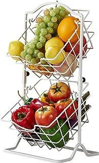 YGJT Panier à fruits / légumes suspendu en métal chromé à double couche, support à légumes pour le rangement et l'organisa...