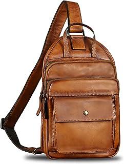 Genuine Leather Sling Bag for Men Vintage Crossbody Hiking Backpack Shoulder Bag Retro Cowhide Casual Daypack Purse Fanny Bag