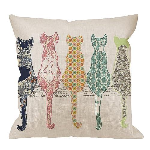 HGOD DESIGNS Colourful Creative Cared Cats Pillow Case 5b4e0c37e9