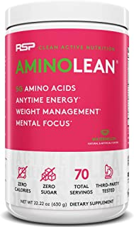RSP AminoLean - All-in-One Pre Workout, Amino Energy, Weight Management Supplement with Amino Acids, Complete Preworkout Energy for Men & Women, Watermelon, 70 (Packaging May Vary)