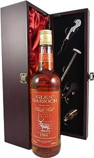 Glen Garioch Highland Single Malt Scotch Whisky 1984 in einer mit Seide ausgestatetten Geschenkbox. Da zu vier Wein Zubehör, Korkenzieher, Giesser, Kapselabschneider,Weinthermometer, 1 x 700ml