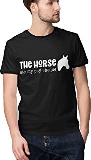 Mens T-Shirt The Horse Ate My Pay Cheque Funny Short Sleeve Black Cotton Crew Neck