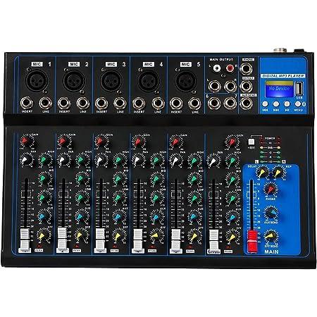 Depusheng HT7 Table de mixage audio portable Bluetooth avec console de mixage de son DJ USB Cartes de mixage de bandes à 7 canaux Prise MP3 Alimentation 48V