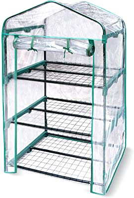 Hortem 3-Tier Mini Greenhouse, Portable Plant Flower Shelf with Durable PVC Cover, Garden Green House for Plants Outdoor