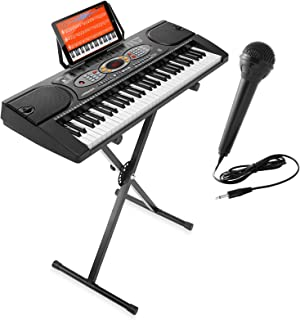 Hamzer 61-Key Electronic Keyboard Portable Digital Music Piano with X Stand, Microphone & Sticker Set