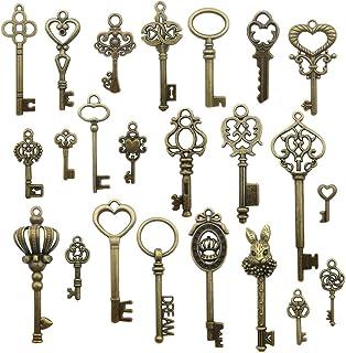 Youdiyla Vintage Skeleton Key in Antique Bronze Style - Set of 46pcs (HM107)