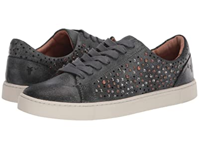 Frye Ivy Deco Stud Low Lace (Black Waxed Vintage Suede) Women