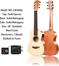 Left Handed - Caramel CB300GL 6 String Solid Spruce Top & Mahogany Acoustic & Electric Ukulele Guitalele with Truss Rod