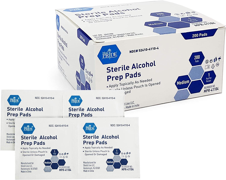 Medpride Super sale Alcohol Large special price !! Prep Pads 200 In Sterile Medical-Grade Pack