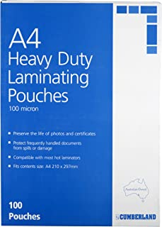 Cumberland 13004 100 Micron A4 Laminating Pouches, 297 mm Width, Clear
