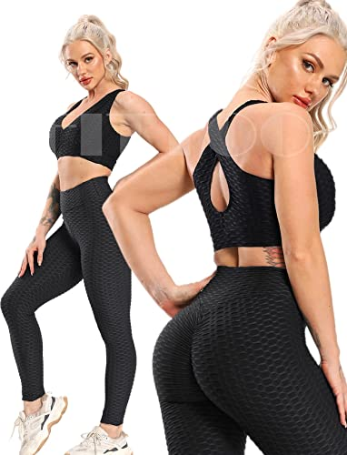 FITTOO Womens High Waisted Yoga Pants Tummy Control Scrunched Booty Leggings