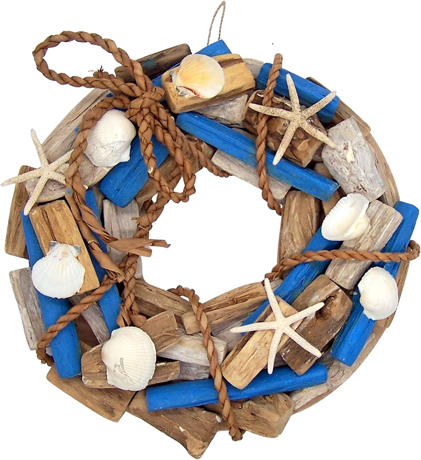 Starfish and Seashell Driftwood Wreath for Front Door, Beach Themed Décor, 15 Inches
