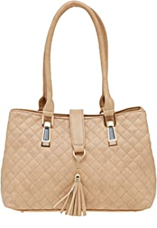ESBEDA Beige Checkered Pu Synthetic Material Handbag For Women