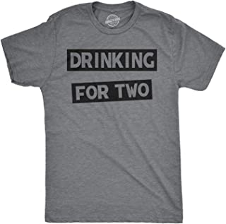 Crazy Dog T-Shirts Mens Drinking for Two Tshirt Funny Partying Drinking Beer Alchohol Tee