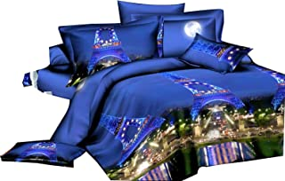 3D Night Light Eiffel Tower Bedding Duvet Cover Bedclothes Set Bedroom Comforter Shell Queen Size 4pcs