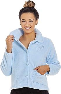 Camille Luxury Light Blue Button Up Soft Fleece Bed Jacket
