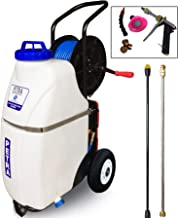 Petra Battery Powered 12 Gallon Cart Sprayer - The Beast, Heavy Duty Commercial Sprayer with Custom Built Cart, Offroad Wheels & Solid Steel Easy-Turn Hose Reel for 100 Foot Hose, 2 Wands, 80 PSI