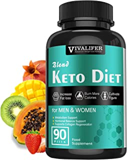 Keto Pills, 90 Pills Fat Burner & Weight Loss Supplement Formula Keto Diet Pills,Women Men Appetite Suppressant ACV Detox ...