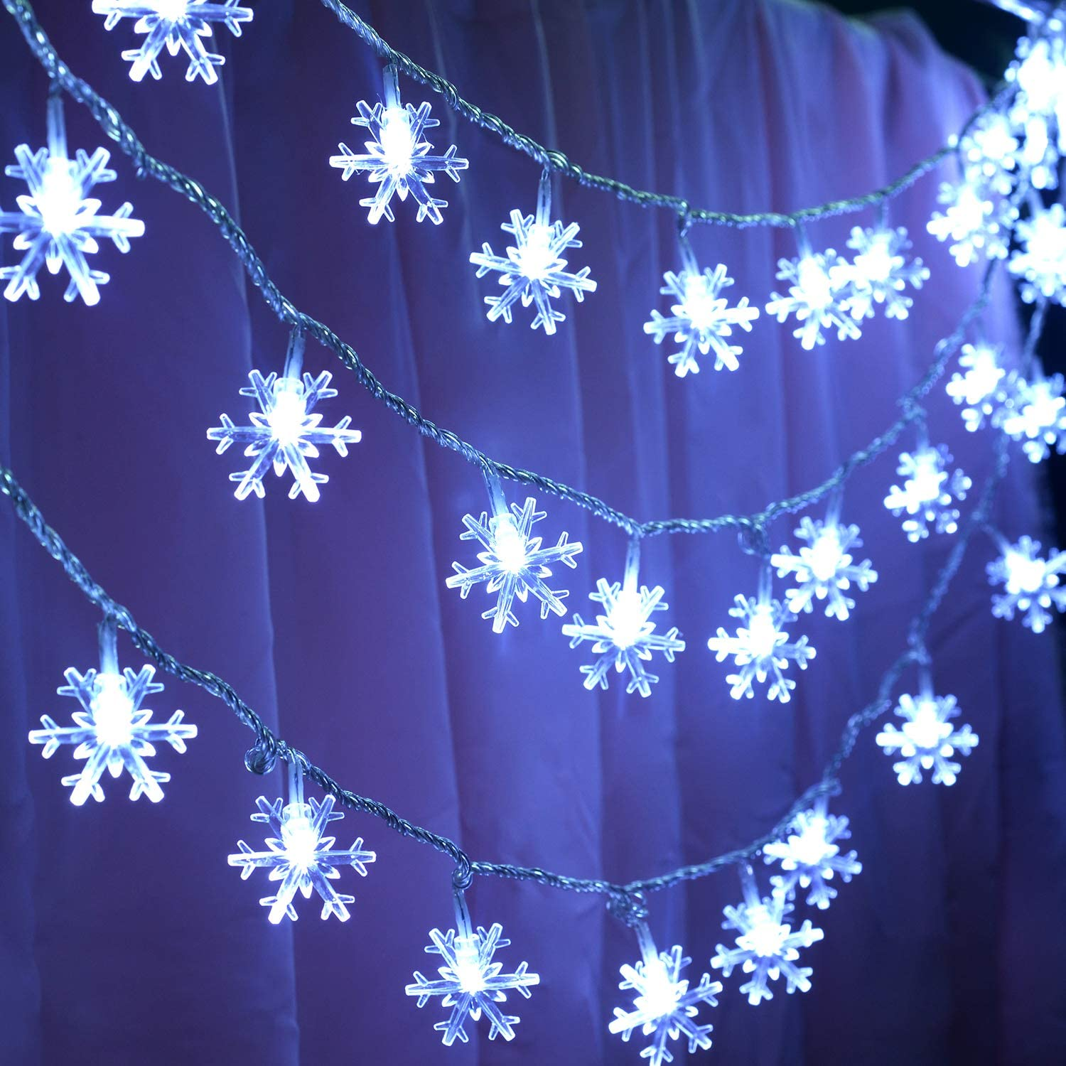 32FT 80LED Christmas String Lights Christmas Snowflake Lights Holiday Decoration Indoor Outdoor Christmas Decoration Christmas Ornament