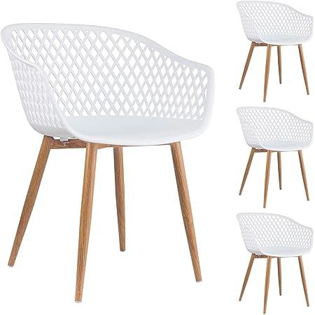 Esszimmerstuhl Retro Design Stühle 4er Set Küchenstuhl Sitz Kunststoff weiß