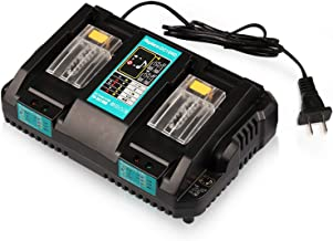 Energy tech 18V Battery Charger DC18RD Dual Ports Fast Charge 4A 120W for Makita Lithium-Ion Battery BL1415 BL1430 BL1830 BL1840 BL1850 BL1850B BL1860B, Replace DC18RC DC18SF DC18RT