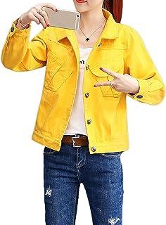ZLSLZ Womens Grils Casual Cute Solid Denim Jean Trucker Jacket Coat Outerwear