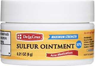 De La Cruz 10% Sulfur Ointment Acne Medication, Allergy-Tested, No Preservatives, Fragrances or Dyes, Made in USA, Trial S...