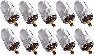 Thlevel UHF manlig lödkoax-kontakt PL-259 med reducerare CB skinka radioantenn silver 10 st