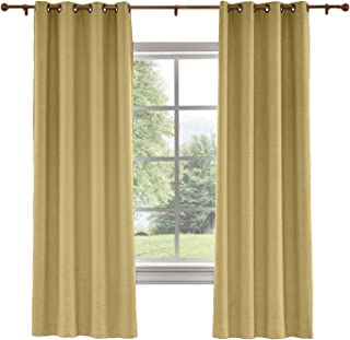 Drapifytex Antique Bronze Grommet Drapery Faux Linen Blackout Lined Curtain, Bedroom Panel Living Room Panel, Khaki, 84 Inches Width by 96 Inches Length (1 Panel)